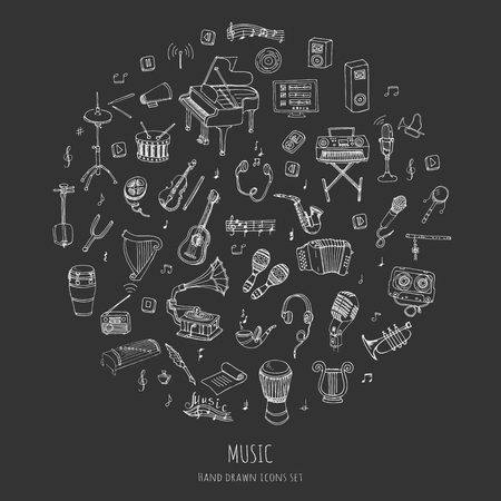 vinyl disk player: Hand drawn doodle Music set Vector illustration musical instrument and symbols icons collections Cartoon sound concept elements Music notes Piano Guitar Violin Trumpet Drum Gramophone Saxophone Harp Illustration