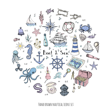 moray: Hand drawn doodle Boat and Sea set Vector illustration boat icons sea life concept elements Ship symbols collection Marine life Nautical design Underwater life Sea animals Sea map Spyglass Magnifier