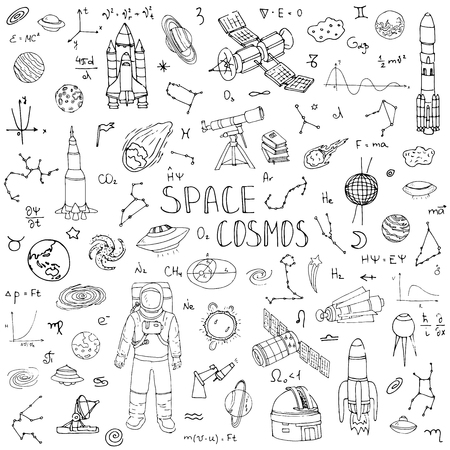 Hand drawn doodle Space and Cosmos set Vector illustration Universe icons Space concept elements Rocket Space ship symbols collection Solar system Planets Galaxy Milky Way Astronaut Tech freehand icon  イラスト・ベクター素材