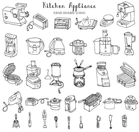 손으로 그린 낙서 주방 기기 벡터 일러스트 만화 아이콘 세트 다양 한 가계 장비 작은 주방 가전 소비자 전자 주방 프리 핸드 스케치