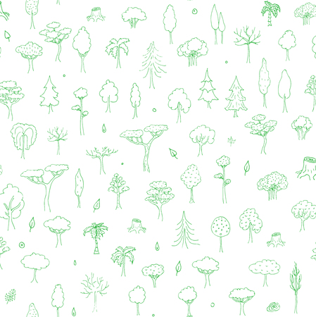 forest clipart: Seamless background hand drawn doodle Tree and Forest set Vector illustration tree icons Forest concept elements Tree isolated silhouette symbols collection Nature Forest clipart design Leaf Fir Green