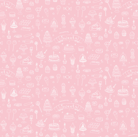 macaron: Seamless background hand drawn doodle Sweets set Vector illustration Sketchy Sweet food icons collection Isolated desert symbols Cupcake Macaron Chocolate bar Candy Cake Pie Pastry Lollipop Pastry Illustration