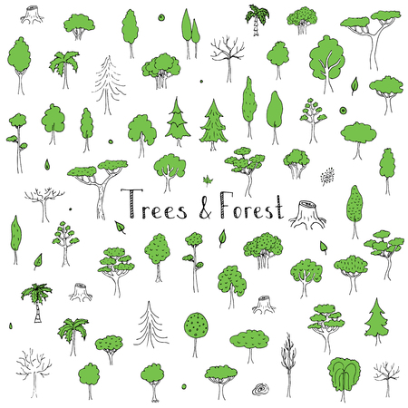 forest clipart: Hand drawn doodle Trees and Forest set Vector illustration tree icons Forest concept elements Tree isolated silhouette symbols collection Nature Forest clipart design Leaf Fir Ever green Branch Stump Illustration