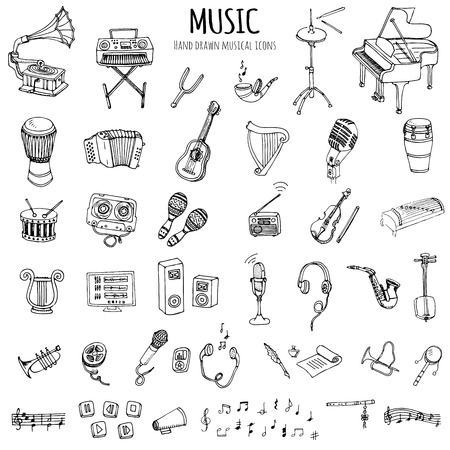 Hand drawn doodle Music set Vector illustration musical instrument and symbols icons collections Cartoon sound concept elements Music notes Piano Guitar Violin Trumpet Drum Gramophone Saxophone Harp Vettoriali