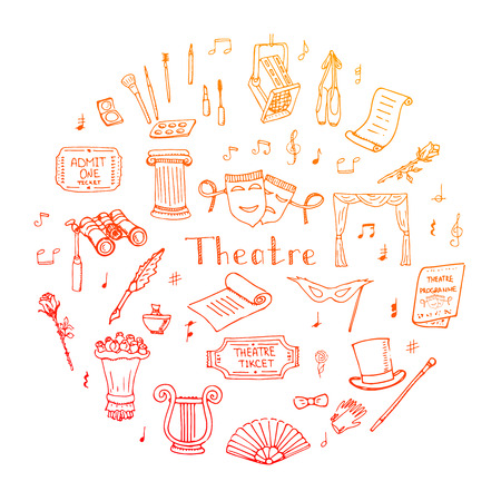 musical theater: Hand drawn doodle Theater set Vector illustration Sketchy theater icons  Theatre acting performance elements Ticket Masks Lyra Flowers Curtain stage Musical notes Pointe shoes Make-up artist tools