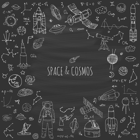 earth from space: Hand drawn doodle Space and Cosmos set Vector illustration Universe icons Space concept elements Rocket Space ship symbols collection Solar system Planets Galaxy Milky Way Astronaut Tech freehand icon Illustration