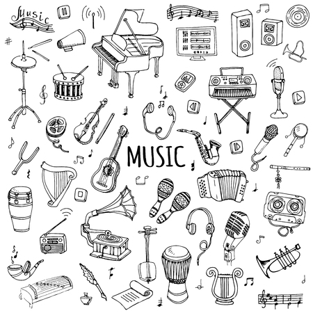 Hand drawn doodle Music set Vector illustration musical instrument and symbols icons collections Cartoon sound concept elements Music notes Piano Guitar Violin Trumpet Drum Gramophone Saxophone Harp Çizim