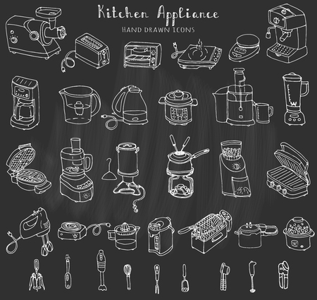 Hand drawn doodle Kitchen appliance vector illustration  Cartoon icons set Various household equipment and facilities Small kitchen appliances Consumer electronics Kitchenware Freehand vector sketch Çizim