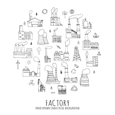 factory: Hand drawn doodle Factory set Vector illustration Sketchy cartoon Industrial factory icons Factory building Manufacture building Eco concept Pipe with smoke Pollution Recycling Tree Plant Leaves