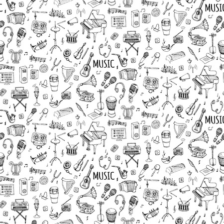Seamless background hand drawn doodle Music set Vector illustration musical instrument, symbols icons collections Cartoon sound elements Piano Guitar Violin Trumpet Drum Gramophone Saxophone Harp