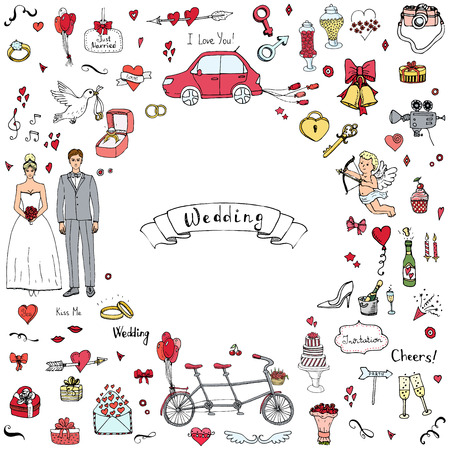 engagement ring: Hand drawn doodle Wedding collection Vector illustration Sketchy Marriage icons Big set of icons for Wedding day, love and romantic events Bride Groom Heart Cupid Engagement ring