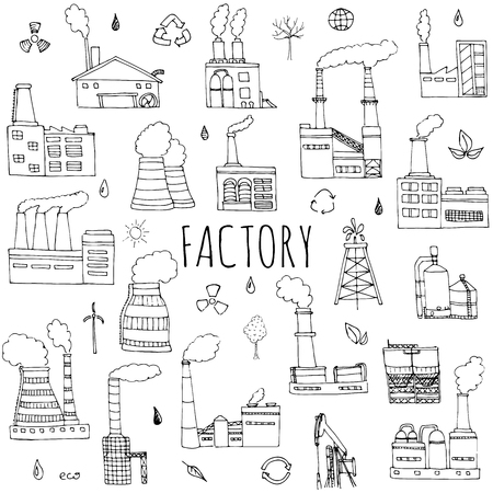 Hand drawn doodle Factory set Vector illustration Sketchy cartoon Industrial factory icons Factory building Manufacture building Eco concept Pipe with smoke Pollution Recycling Tree Plant Leaves
