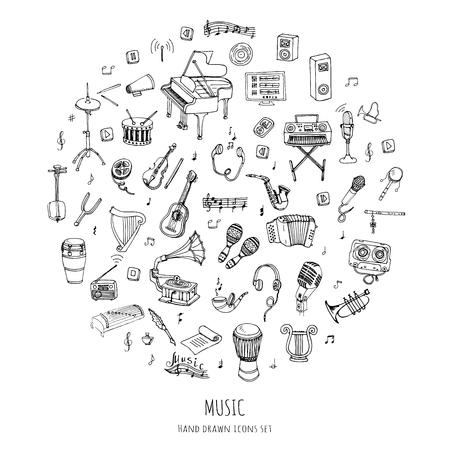 Hand drawn doodle Music set Vector illustration musical instrument and symbols icons collections Cartoon sound concept elements Music notes Piano Guitar Violin Trumpet Drum Gramophone Saxophone Harp Illusztráció