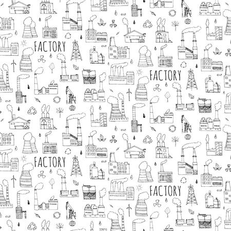 연기 오염 재활용 트리 공장과 원활한 배경 손으로 그린 낙서 공장 설정 벡터 일러스트 레이 션 스케치 만화 산업 공장 아이콘 공장 건물의 제조