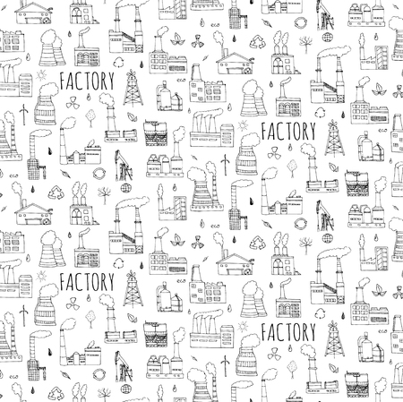 Seamless background hand drawn doodle Factory set Vector illustration Sketchy cartoon Industrial factory icons Factory building Manufacture Eco concept Pipe with smoke Pollution Recycling Tree Plant Illustration