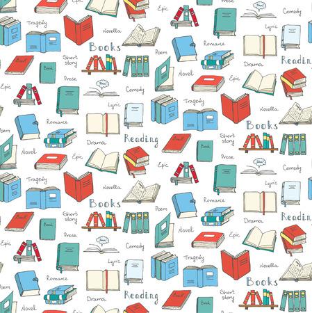 Naadloze achtergrond met de hand getekende doodle Boeken en Lezen set Vector illustratie schetsmatige boek iconen elementen symbolen van het lezen en leren Boekenclub Terug naar school Onderwijs University College symbool Stock Illustratie