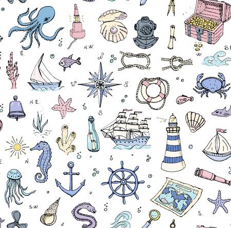 Fondo transparente dibujado a mano doodle del Barco y mar de conjunto de iconos Ilustración del vector Mar símbolos elementos de la vida de la nave marina colección vida de diseño náutico Animales de mar Submarino mapa Sea Spyglass lupa Foto de archivo - 57023953