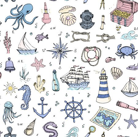 moray: Seamless background hand drawn doodle Boat and Sea icons set Vector illustration Sea life elements Ship symbols collection Marine life Nautical design Underwater Sea animals Sea map Spyglass Magnifier
