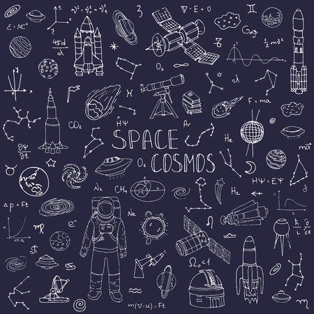 Hand drawn doodle Space and Cosmos set Vector illustration Universe icons Space concept elements Rocket Space ship symbols collection Solar system Planets Galaxy Milky Way Astronaut Tech freehand icon Ilustrace