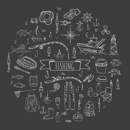 fishing lure: Hand drawn doodle Fishing icons set Vector illustration fishing equipment elements collection Cartoon fishing concept Fishing rod Baits Spinning Fishing lure Fish Fishing boat Lighthouse Fishing cloth