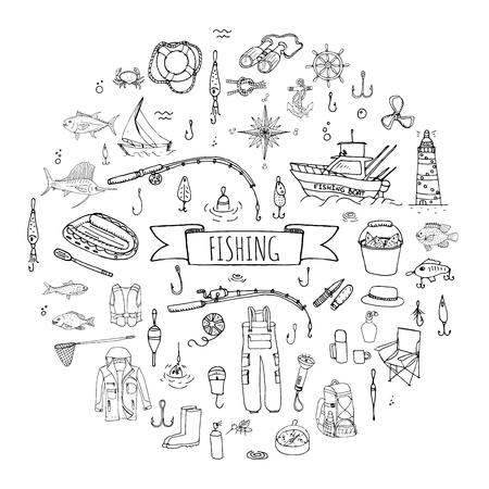 Hand drawn doodle Fishing icons set Vector illustration fishing equipment elements collection Cartoon fishing concept Fishing rod Baits Spinning Fishing lure Fish Fishing boat Lighthouse Fishing cloth