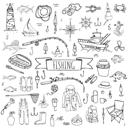anchor drawing: Hand drawn doodle Fishing icons set Vector illustration fishing equipment elements collection Cartoon fishing concept Fishing rod Baits Spinning Fishing lure Fish Fishing boat Lighthouse Fishing cloth