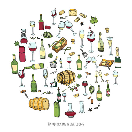 sektglas: Hand gezeichnet Wein Set Icons Vektor-Illustration Sketchy Weinprobe Elemente Sammlung Wein Objekte Cartoon Wein Symbole Vineyard Hintergrund Vector Wein Hintergrund Weingut Illustration Traube Weinglas