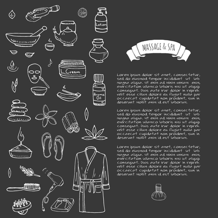 hot stone massage: Hand drawn doodle Massage and Spa icons set Vector illustration relaxing symbols collection Cartoon beauty care concept elements health care Wellness treatment Body massage Lifestyle Skin care Spa