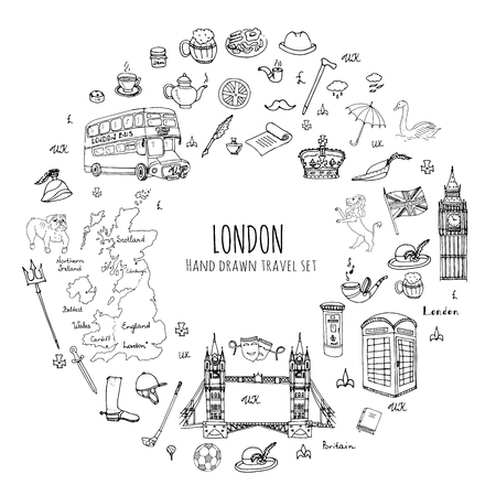 big ben tower: Hand drawn doodle United Kingdom set Vector illustration UK icons  Welcome to London elements British symbols collection Tea Bus Horse riding Golf Crown Beer Lion Bulldog London bridge Big Ben Tower