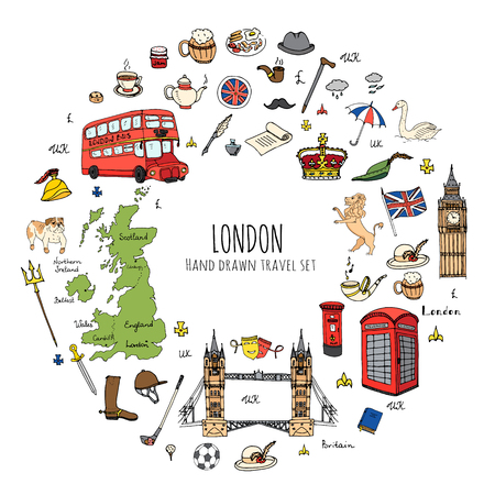 Hand getrokken doodle Verenigd Koninkrijk set Vector illustratie UK pictogrammen Welkom bij London elementen Britse symbolen collectie Tea Bus Paardrijden Golf Crown Beer Lion Bulldog brug van Londen Big Ben Tower Stock Illustratie