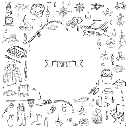 fish pond: Hand drawn doodle Fishing icons set Vector illustration fishing equipment elements collection Cartoon fishing concept Fishing rod Baits Spinning Fishing lure Fish Fishing boat Lighthouse Fishing cloth