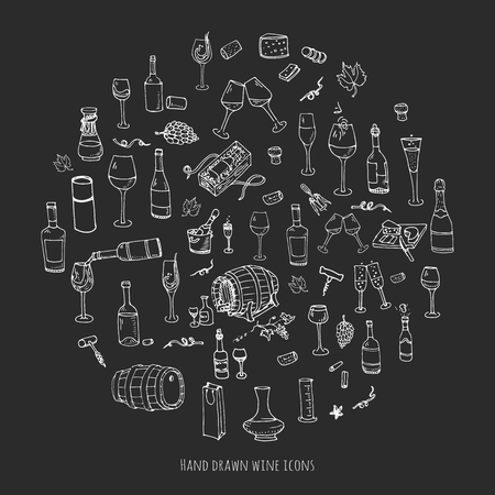 Hand drawn wine set icons Vector illustration Sketchy wine tasting elements collection Wine objects Cartoon wine symbols Vineyard background Vector wine background Winery illustration Grape Wine glass Stok Fotoğraf - 58066841