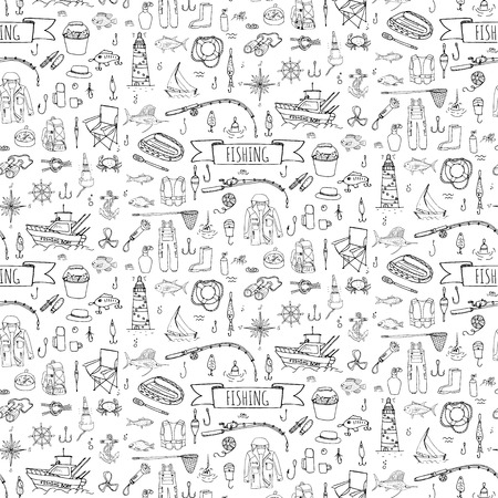 fishing lure: Seamless background hand drawn doodle Fishing icons set Vector illustration fishing equipment elements collection Cartoon fishing concept Fishing rod Baits Spinning Fishing lure Fish Fishing boat Illustration