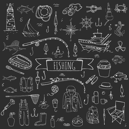 mano disegnato doodle di pesca set di icone vettoriali di attrezzature elementi illustrazione di pesca di raccolta del fumetto pesca concetto di pesca esche da pesca canna da spinning pesce esca Barca da pesca panno faro Pesca