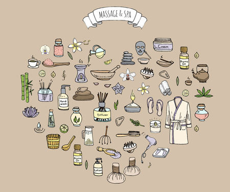 body wrap: Hand drawn doodle Massage and Spa icons set Vector illustration relaxing symbols collection Cartoon beauty care concept elements health care Wellness treatment Body massage Lifestyle Skin care Spa