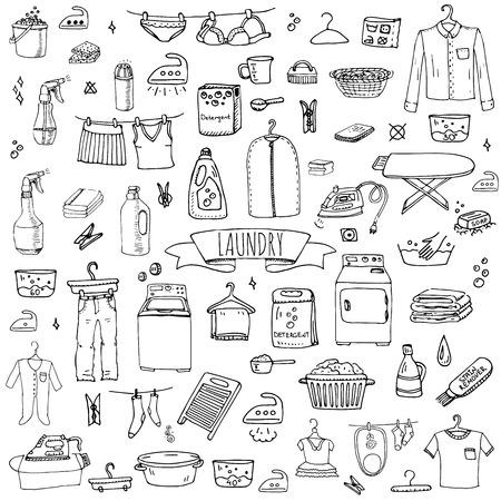dibujado a mano doodle de lavandería conjunto ilustración vectorial iconos de lavado de lavandería elementos de limpieza concepto símbolos de negocios Equipos de recogida Las tareas del hogar e instalaciones para el lavado, secado y planchado de la ropa