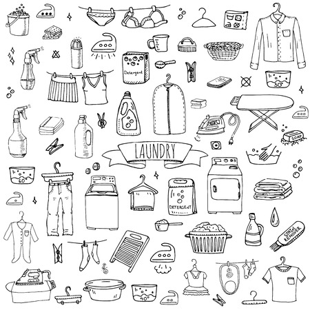 laundry hanger: Hand drawn doodle Laundry set Vector illustration washing icons Laundry concept elements Cleaning business symbols collection Housework Equipment and facilities for washing, drying and ironing clothes