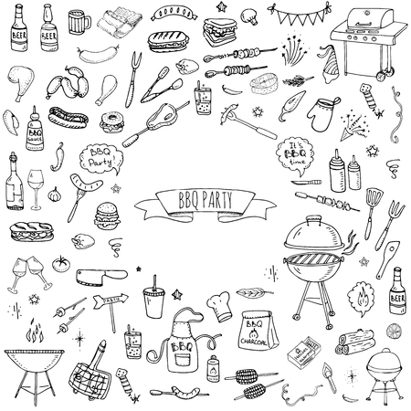 Hand drawn doodle BBQ party icons set Vector illustration summer barbecue symbols collection Cartoon various meals, drinks, ingredients and decoration elements on white background Sketch Illusztráció