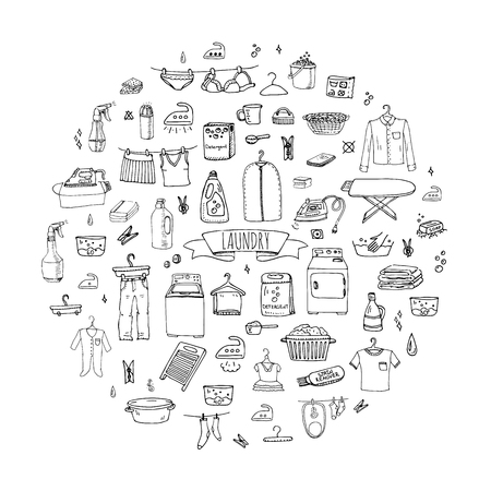 손으로 그린 낙서 세탁 비즈니스 기호 컬렉션 집안일 장비 및 세척, 건조 시설 및 다림질 옷을 청소 벡터 일러스트 레이 션 세탁 아이콘 세탁 개념