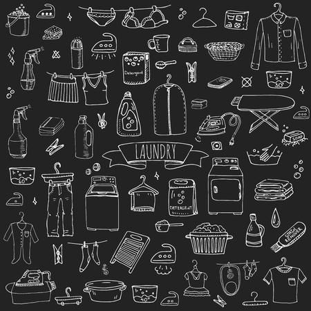 laundry concept: Hand drawn doodle Laundry set Vector illustration washing icons Laundry concept elements Cleaning business symbols collection Housework Equipment and facilities for washing, drying and ironing clothes