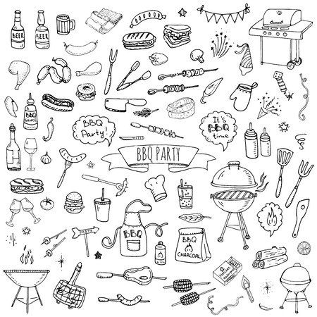 Hand drawn doodle BBQ party icons set Vector illustration summer barbecue symbols collection Cartoon various meals, drinks, ingredients and decoration elements on white background Sketch Çizim