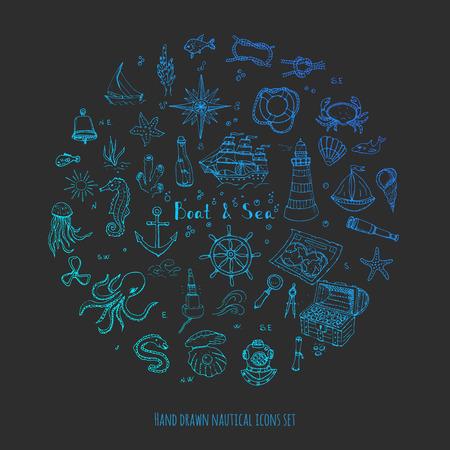 dibujado a mano doodle de Barcos y mar conjunto de vectores iconos ilustración de barcos vida marina elementos conceptuales símbolos de la nave colección La vida marina de diseño náutico de la vida subacuática de animales de mar mapa Sea Spyglass lupa Ilustración de vector