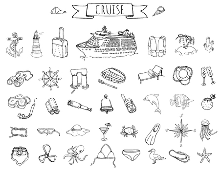 Hand drawn doodle Cruise vacation icons set Vector illustration summer adventure emblem collection Cartoon cruise liner concept elements Sea symbols Marine concept with Cruise Ship Summertime Elements  イラスト・ベクター素材