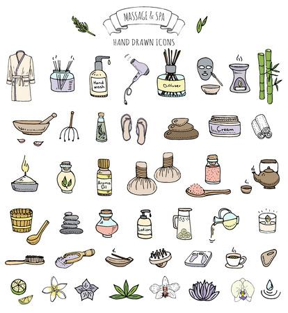 Hand drawn Massage doodle et icônes Spa set Vector illustration détente symboles Cartoon collection soins de beauté éléments du concept de soins de santé bien-être des soins de massage mode de vie de la peau Soin du corps Spa