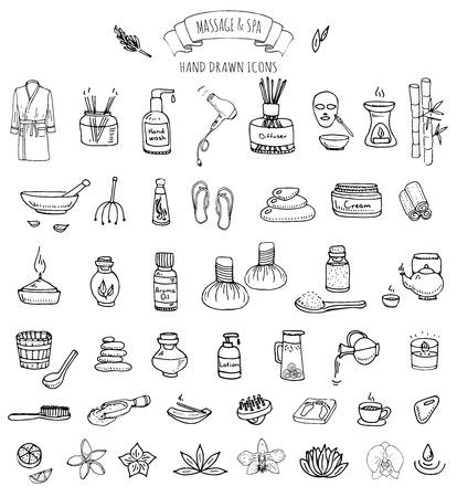 Hand getrokken doodle Massage en Spa pictogrammen instellen Vector illustratie ontspannen symbolen collectie Cartoon schoonheidsverzorging begrip elementen gezondheidszorg Wellness behandeling Body massage Lifestyle Huidverzorging Spa Stock Illustratie