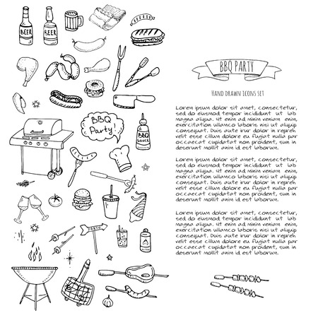 Hand drawn doodle BBQ party icons set Vector illustration summer barbecue symbols collection Cartoon various meals, drinks, ingredients and decoration elements on white background Sketch Ilustração