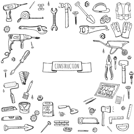Hand drawn doodle Construction tools set Vector illustration building icons House repair icons concept collection Modern sketch style labels of house remodel gear elements and symbols Home repair tool