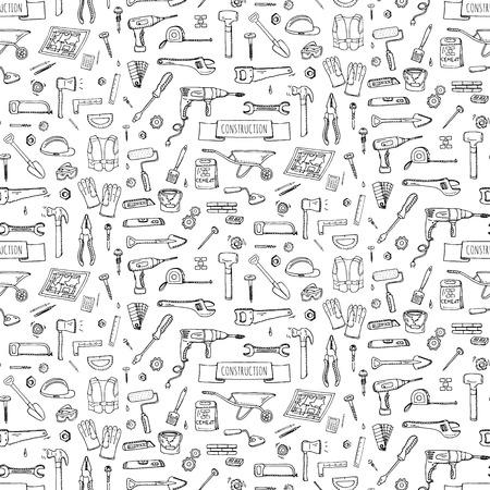 Herramientas de la construcción de bosquejo dibujado de fondo sin fisuras de mano conjunto de vectores iconos ilustración construcción de viviendas iconos de reparación concepto de recogida modernos etiquetas de estilo boceto de la casa de remodelación de engranajes elementos, símbolos Ilustración de vector