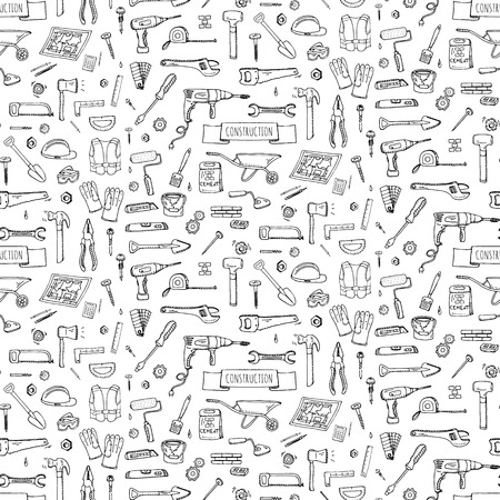 drill bit: Seamless background hand drawn doodle Construction tools set Vector illustration building icons House repair icons concept collection Modern sketch style labels of house remodel gear elements, symbols