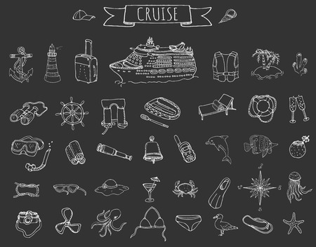 cruise liner: Hand drawn doodle Cruise vacation icons set Vector illustration summer adventure emblem collection Cartoon cruise liner concept elements Sea symbols Marine concept with Cruise Ship Summertime Elements Illustration